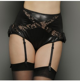 Veronika Black Leather Look Embroidery High Waist Suspender Panties Black Sleepwear Lingerie