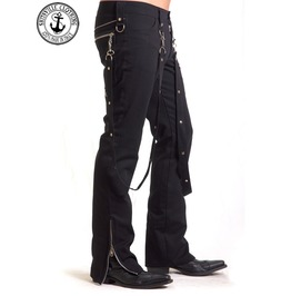 Black Bondage Pants Studs Male Slim Fit Punk Rock Man Trousers Handmade