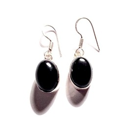 Awesome 925 Silver Onyx Oval Design Earrings
