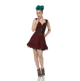 Jawbreaker Captain's Mistress Burgundy Steampunk Dress