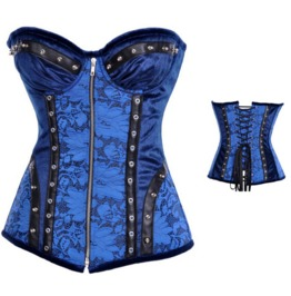 Sexy Front Zipper Rivets Blue Floral Bustier Corset