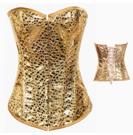Sexy Gold Pattern Bustier Corset