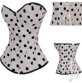 Sexy Metal Buttons Polka Dots Bustier Corset