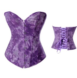 Sexy Metal Buttons Purple Floral Pattern Bustier Corset