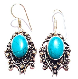 Pretty! Vintage Victorian Design Turquoise 925 Silver Earrings
