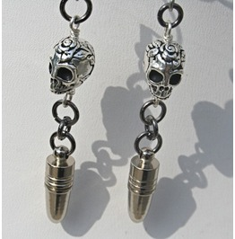 Silver Bullet Sugar Skull Earrings