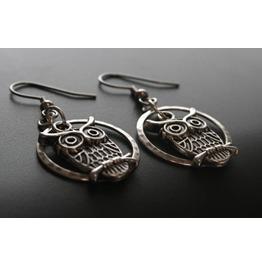 Silver Night Owl Earrings