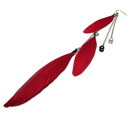 Feather And Teardrop Crystal Single Long Earring Red