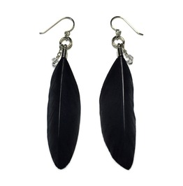 Feather And Teardrop Crystal Earrings Black