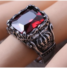 Crown Design Stainless Steel Goth Ring Red Gem