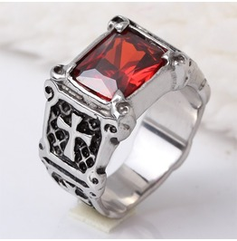 Cross Sign Red Gem Designed Stainless Steel Ring
