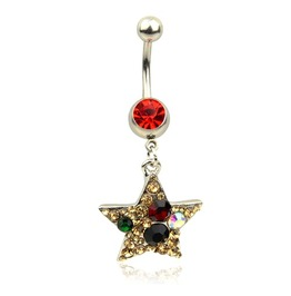 Shining! White Clear Crystals & Few Colours Crystal Star Design Belly Bar