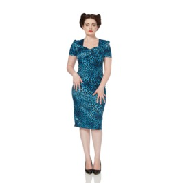 Voodoo Vixen Blue Leopard Satin Pencil Dress