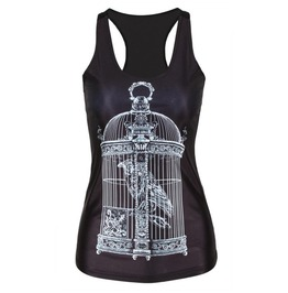 Women's Tank Top Vest Print Blouse Gothic Punk Party Clubwear Sleeveless T Shirt #13
