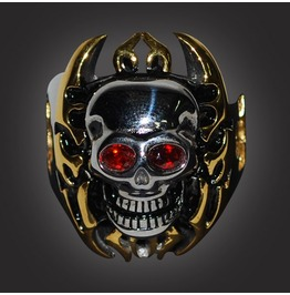 Skull Red Eye Gold Finish
