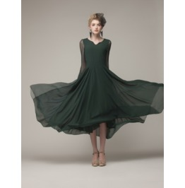 Elegant Soft Green Long Sleeves Dress