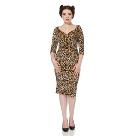 Voodoo Vixen Tilly Leopard Print Pencil Dress
