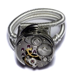 Steampunk Ring Watch Movement Silver Tone