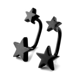 Cool! Pair Black Star Design Earrings
