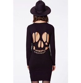 Cut Back Skull Pattern Short Dress