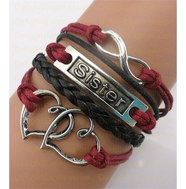 Retro Style Rope Bracelet Sister Wine Infinity Heart Valentine's Day Gift