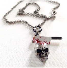 Hacked Up Bloody Hatchet In Skull Metal Chain Pendent Necklace