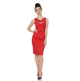 Voodoo Vixen Lavelle Cut Away Red Cat Eye Pencil Dress
