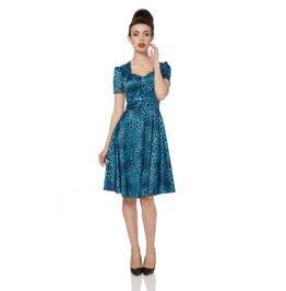 Voodoo Vixen Camille Blue Leopard Satin Tea Dress