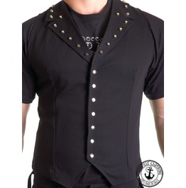 Black Cotton Studded Male Vest Man Gilet Punk Rock Heavy Metal Handmade