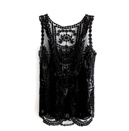 Awesome + Unique! Black Lacey Vest Top Eye Catching Design Size Small Uk 10/12