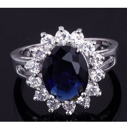 Enchanting! 10ct White Gold Plated Simulated Sapphire Ring Size 10