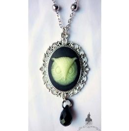 Tyto Alba Owl Necklace (Glow Dark) Elvish Gothic Wicca Pagan Glow Dark