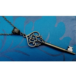 Gothic Steampunk Bronze Plated Large Key Necklace