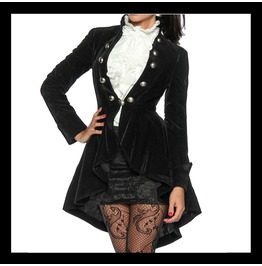 Gothic Steampunk Tailcoat Frock Coat Jacket Velvet Black