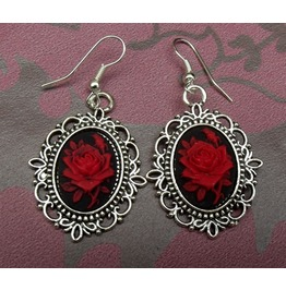 Gothic Victorian Steampunk Red Rose Cameo Filigree Drop Earrings