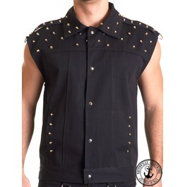 Black Studded Sleeveless Male Vest Cotton Studs Jacket Man Goth Halloween