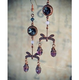 Neo Victorian Steampunk Copper Mauve Earrings Crystals Dragonflies