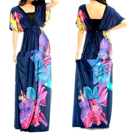 Pretty! Long Dress Colourful Floral Print Uk Size 12/14