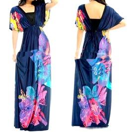 Pretty! Long Dress Colourful Floral Print Uk Size 12/14