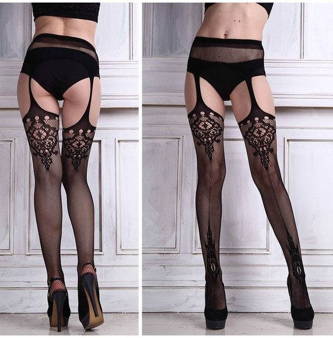 Sexy Ladies Black Lace Top Stockings W Attached Garter Belt