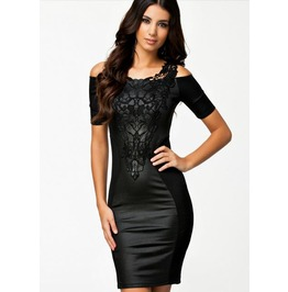Black Embroidered Faux Leather Stretchy Shoulder Bodycon Minidress