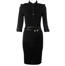 Black Button Military Style Knee Length Dress