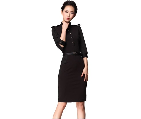 black_button_up_military_style_knee_length_dress_dresses_5.jpg