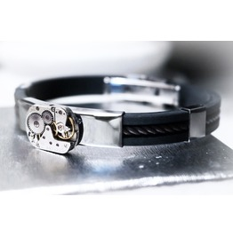 Steampunk Bdsm Jewelry Men's Black Silver Cuff Brutal Metal Rubber Brass Soviet Watch Bracelet Gift Man Boyfriend Father Brother