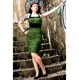 Cocktail Dress Rockabilly Leopard Prom Green 50s Style Women