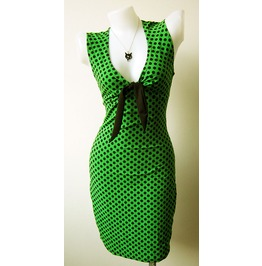 Women's Sexy Rock Punk Emo Retro Dress Green Dot Pokka Dot Black Size M L Xl