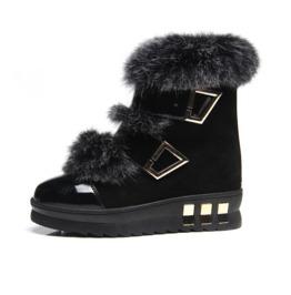 Faux Fur Strap Closure Ankle Boots
