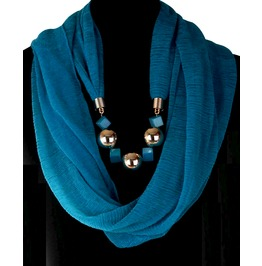 Romance Green/Blue Scarf Huge Plastic Square Cube Bead Design Necklace