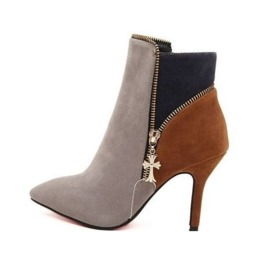 Colorful Cross Charm Side Zipper Thin High Heel Ankle Boots