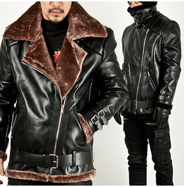 Fur Lining Diagonal Zipper Double Face Leather Jacket 40